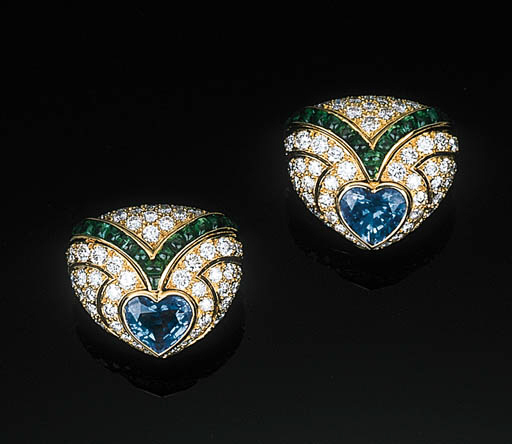 A Pair of Gem-set Ear Clips by
