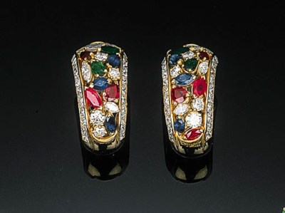 A Pair of Multi-gem and Diamon