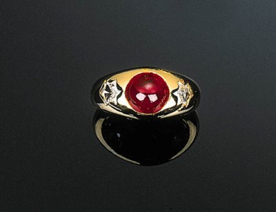 A Cabochon Ruby and Diamond Ri