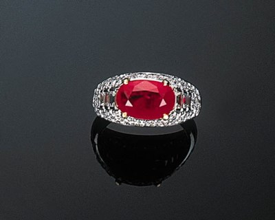 A Ruby and Diamond Ring by Bul