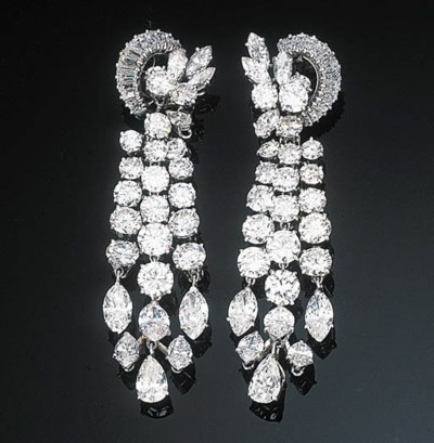 A Pair of Diamond-set Tassel E