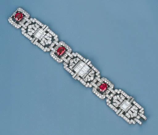 An Art Deco Ruby and Diamond B
