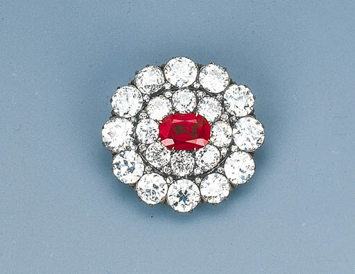 An Antique Ruby and Diamond Br