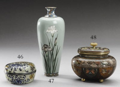 A CLOISONN VASE AND COVER