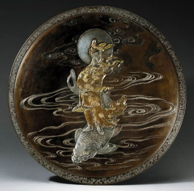 A LARGE BRONZE AND INLAID CHAR
