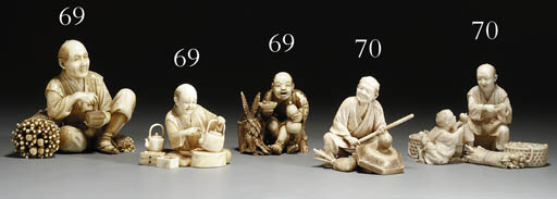 A GROUP OF THREE IVORY ORNAMEN