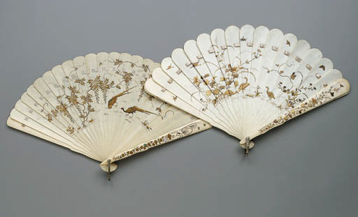 A Group of Lacquered Ivory Fan