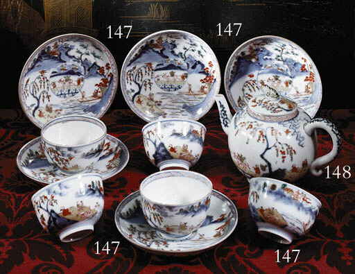 A Set of Imari Cups and Saucer