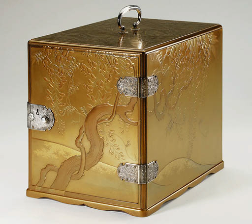 A GOLD LACQUER CABINET
