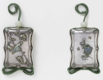 A TWO-CASE SILVER INRO
