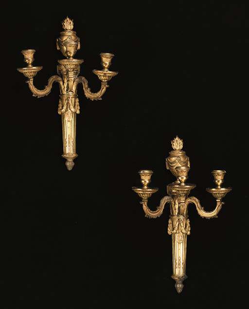 A PAIR OF ORMOLU THREE-BRANCH