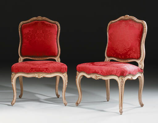 A SET OF FOUR LOUIS XV CREAM-P
