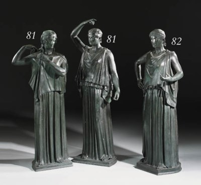 TWO NEAPOLITAN BRONZE DANAIDS