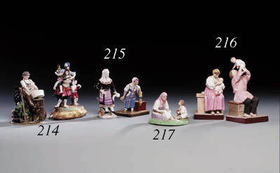 Two glazed porcelain Groups of an old Woman spinning and a Woman in regional Costume