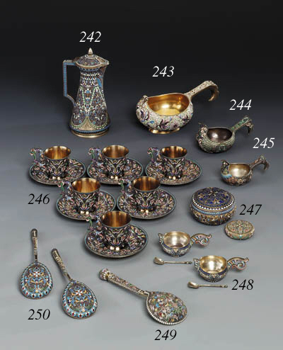A set of six silver-gilt clois