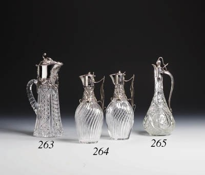 A pair of silver-mounted glass