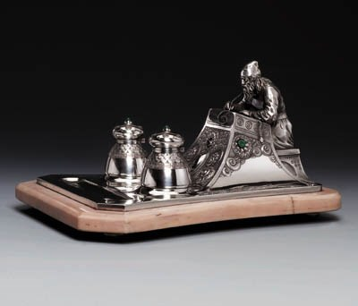 A silver and hardstone Desk Se
