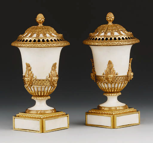 A PAIR OF ORMOLU AND WHITE MAR