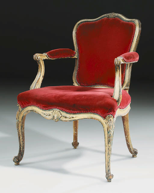 A GEORGE III BLUE AND CREAM-PAINTED OPEN ARMCHAIR