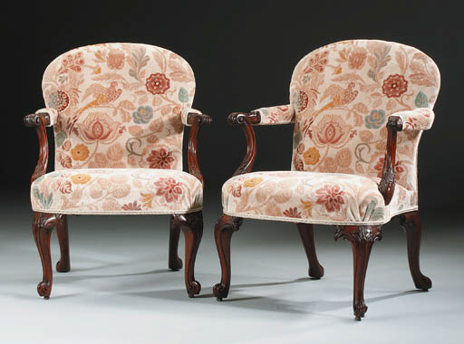 A PAIR OF GEORGE II MAHOGANY OPEN ARMCHAIRS