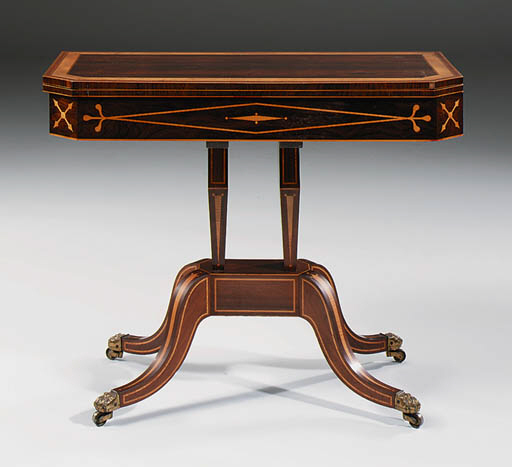 A REGENCY ROSEWOOD AND SATINWOOD CARD-TABLE