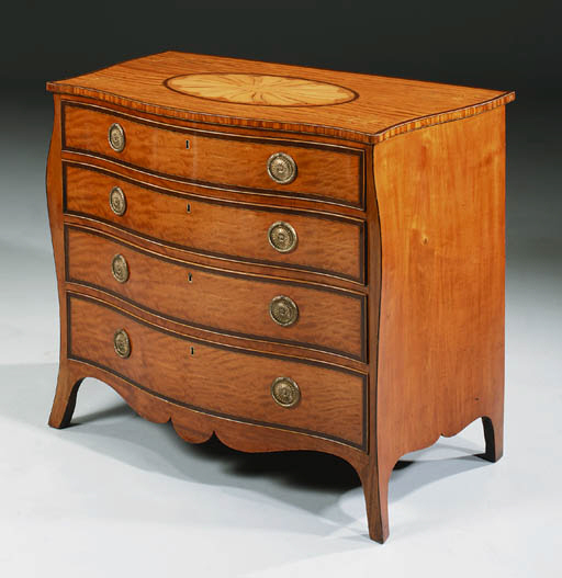 A SATINWOOD AND MARQUETRY DRES