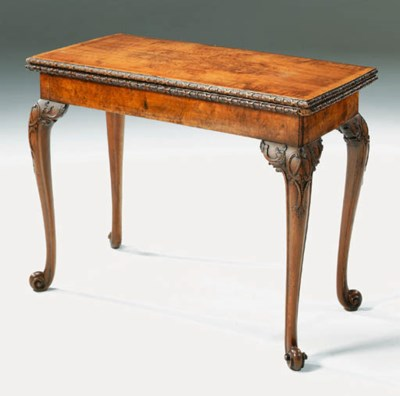 A GEORGE II BURR-WALNUT AND FI