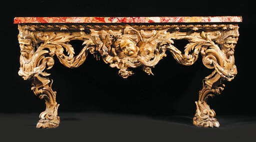 A GEORGE II GILTWOOD CONSOLE T