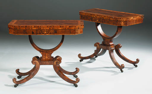 A PAIR OF REGENCY ROSEWOOD CAR