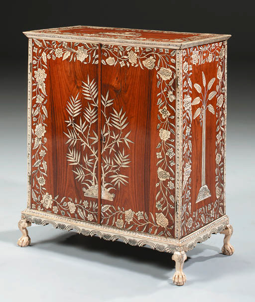 AN ANGLO-INDIAN IVORY-INLAID PADOUK AND HARDWOOD TABLE CABINET