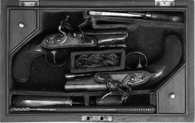 A Cased Pair Of 38-Bore Flintlock Overcoat Pistols
