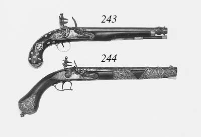 A Rare 22-Bore Indian Silver-Mounted Flintlock Holster Pistol