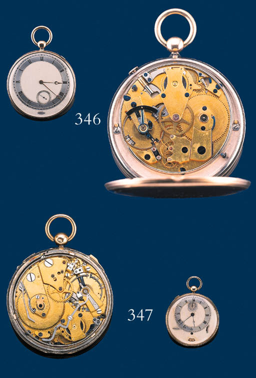 Breguet.  A fine gold and silver openface half quarter repeating lever pocketwatch with instantaneous hour indication