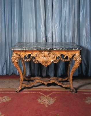 A GERMAN GILTWOOD PIER TABLE