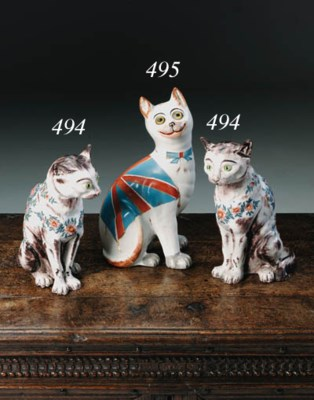 A Galle-style pottery cat