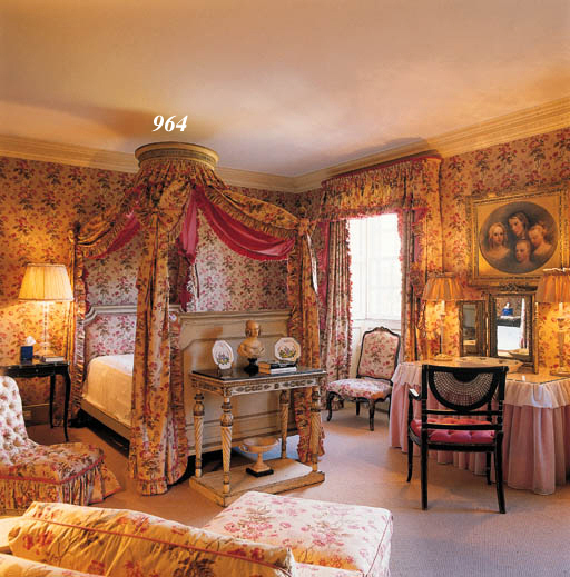 TWO PAIRS OF CHINTZ PATTERNED CURTAINS