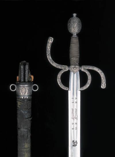 A GERMAN SILVER-ENCRUSTED RIDING SWORD