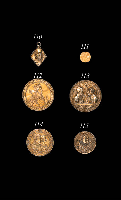 Holy Roman Empire, Charles V (1519-1558) and Ferdinand (I of Germany 1522-1564), silver gilt medal, dated 1547, by Concz Welcz, LVMI ET ORA CAROLI V IMPERATOREIS GRE FERDINADVS DG ROMANO BOE HVNG Z REX, busts of Charles on right and Ferdinand on left, vis--vis, both wearing caps and badges of the Golden Fleece, within architectural frame, a cherub with two shields in exergue, reverse, soldiers in a landscape, the battle of Mhlberg, CAPTIVITAS IOANIS FRIDERICI above, DVCIS SAXONIAE MDXLVII below, 57mm. (Bernhart 135, tf.X; Habich 1909, tf.201, 10; Lbbecke 417; Katz 313, tf.XLV.4; Markl 1980; Tentzel 13-V), rim pierced and plugged at 12 o'clock, very fine