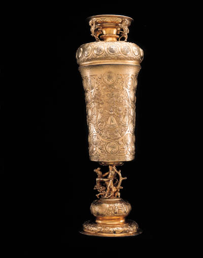 A LARGE GERMAN SILVER-GILT AND