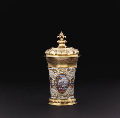 A GERMAN SILVER-GILT AND ENAME