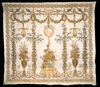A SUITE OF FIVE LATE LOUIS XVI EMBROIDERED SILK WALL-HANGINGS