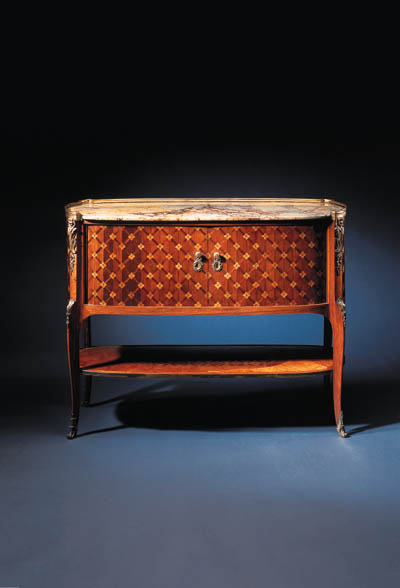 A LATE LOUIS XV ORMOLU-MOUNTED SYCAMORE, TULIPWOOD AND PARQUETRY SECRETAIRE EN CABINET