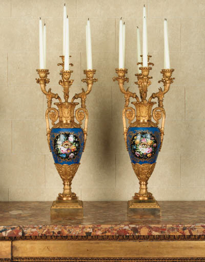 A pair of Louis-Philippe ormolu-mounted blue porcelain seven-light candelabra