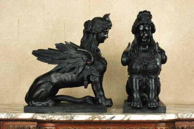A pair of French patinated cas