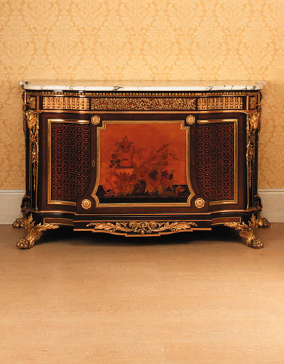 A large French ormolu-mounted mahogany, marquetry and parquetry commode