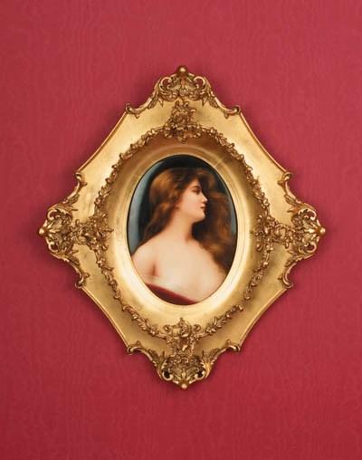 A framed KPM oval porcelain pl