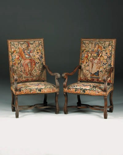 A pair of French Aubusson and