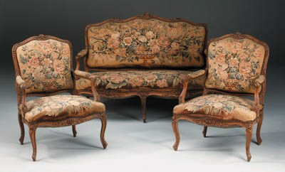 A French Aubusson and walnut s