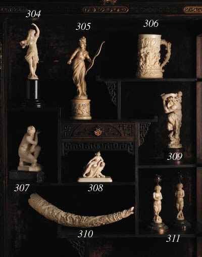 A French carved ivory figure o
