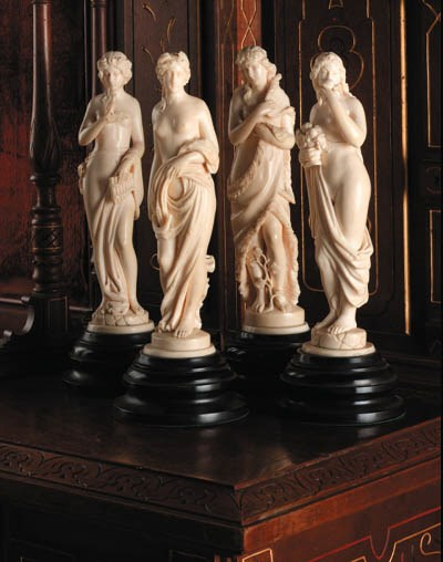 A set of French carved ivory f